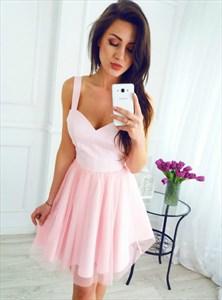 Princess A Line Pink V Neck Sleeveless Knee Length Tulle Prom Dress