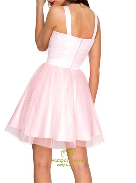Princess A Line Pink V Neck Sleeveless Knee Length Tulle Prom Dress