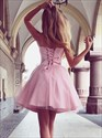 Sweetheart Neckline Sleeveless Short Tulle Dress With Lace Up Back