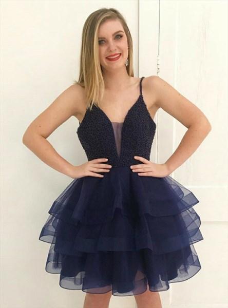 Navy Blue Spaghetti Strap Beaded Bodice Tiered Ruffle Short Dress