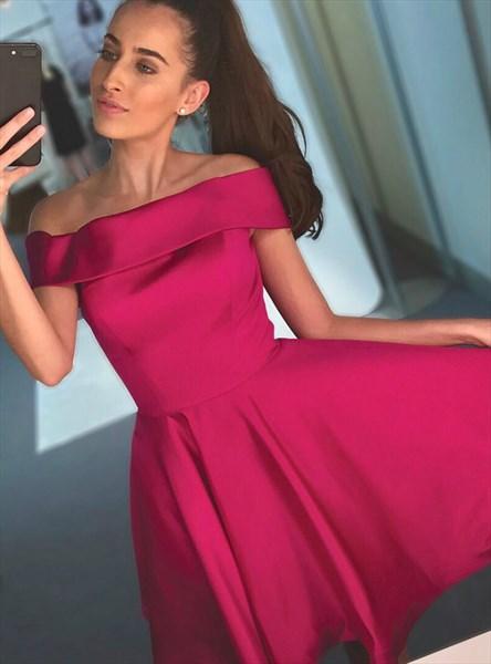 Burgundy Off The Shoulder Sleeveless Satin Knee Length Prom Dress