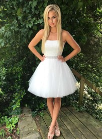 White Strapless Sleeveless Beaded Bodice Tulle Short Prom Dress