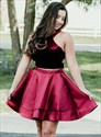 Burgundy Halter Neck Two Piece Short Prom Dress With Cut Out Back