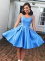 A Line Turquoise Square Neck Sleeveless Satin Short Prom Dress