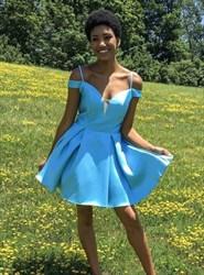 Spaghetti Strap V Neck Keyhole Back Satin Short Prom Dress With Bow