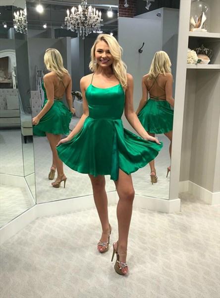 Emerald Green Halter Neck Criss Cross Back Satin Short