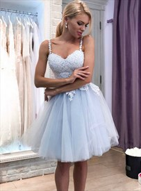 Light Blue Spaghetti Strap Sweetheart Applique Tulle Short Prom Dress