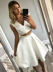 Simple A Line V Neck Sleeveless Satin Two Piece Short Prom Dress