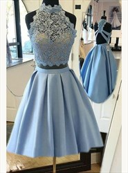 A Line Sky Blue High Neck Lace Top Satin Bottom Two Piece Short Dress