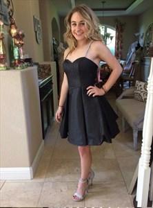 Elegant Beaded Spaghetti Strap Sweetheart Black Satin Short Dress