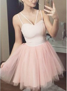 Princess Peach V Neck Sleeveless Knee Length Tulle Homecoming Dresses