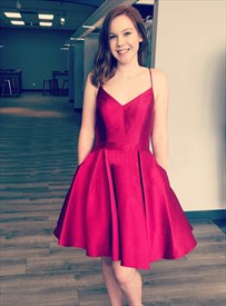 Burgundy Spaghetti Strap Short Prom Dress With Pockets And Bow