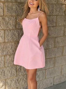 A Line Peach Square Neck Cross Back Satin Short Dress With Pockets