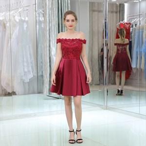 Elegant Burgundy Off The Shoulder Sleeveless Satin Short Dress