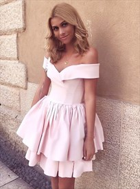 Pink Off The Shoulder Sleeveless Pleated Knee Length Satin Dress