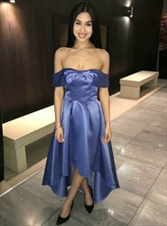Elegant Blue Strapless Short Sleeve Satin High Low Prom Dress