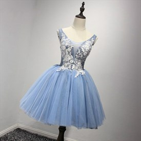 Light Blue Jewel Neckline Beaded Applique Short Homecoming Dresses