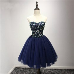 Navy Blue Sweetheart Neckline Sequin Top Tulle Short Dress With Bow