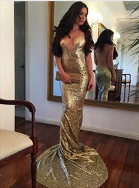 Gold Spaghetti Strap Open Back Sheath Sequin Prom Dress With Train