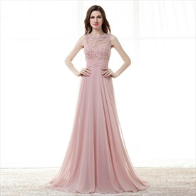 Blush Pink Jewel Neck Beaded Applique Keyhole Ruched Waist Prom Dress