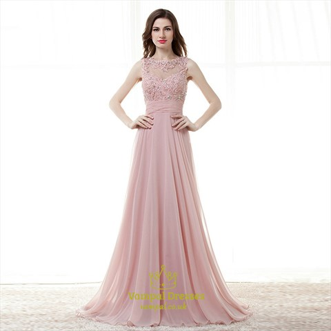 Blush Pink Jewel Neck Beaded Applique Keyhole Ruched Waist Prom Dress