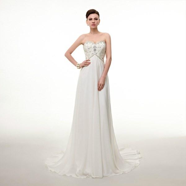 Elegant White Sweetheart Sleeveless Beaded Chiffon Long Prom Dress