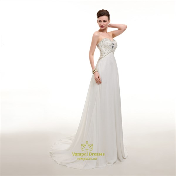 Elegant White Sweetheart Sleeveless Beaded Chiffon Long Prom Dress