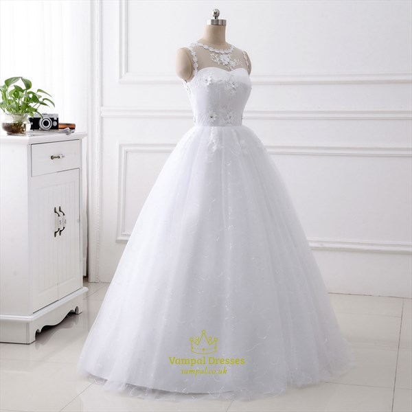 High Neck Applique Sequin Embellished Wedding Dress With Flowers