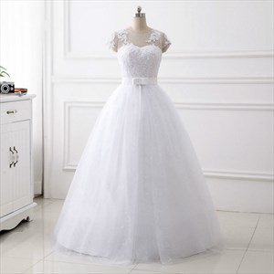 White Jewel Short Sleeve Beading Applique Wedding Dress With Sequins