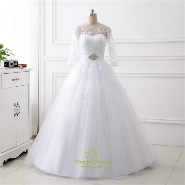 A Line High Neck Keyhole Back Crystal Wedding Dress With 3/4 Sleeves