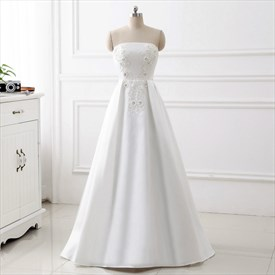 Simple White Strapless Sleeveless Beaded Applique Satin Prom Dress