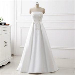 Simple White Strapless Sleeveless Beaded Applique Satin Prom Dress