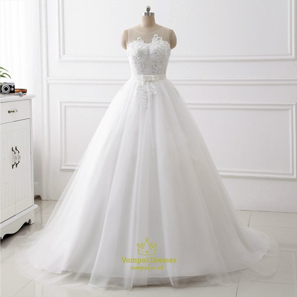 Jewel Keyhole Back Beaded Applique Tulle Wedding Dress With Bow