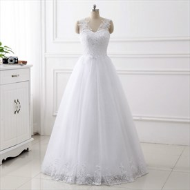V Neck Sleeveless Applique Sequin Floor Length Tulle Wedding Dress
