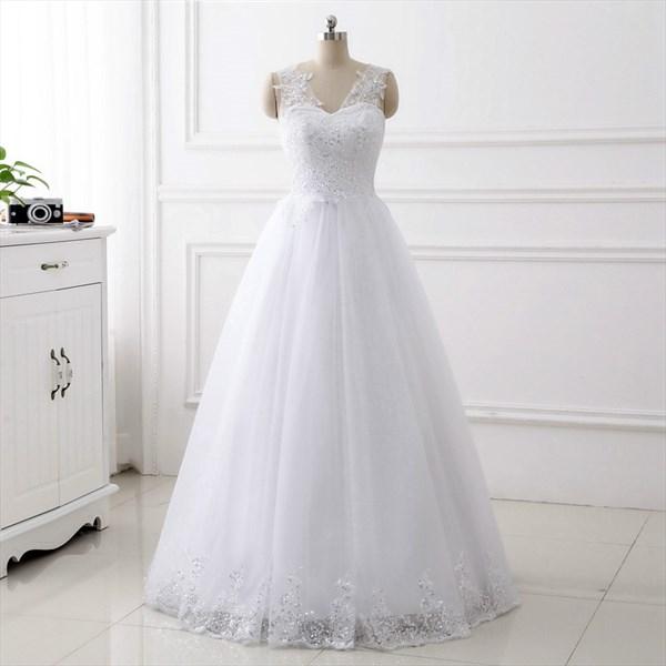 V Neck Sleeveless Applique Sequin Floor Length Tulle Wedding Dress