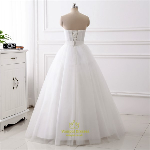 Sweetheart Neckline Crystal Ruched Bodice Long Tulle Wedding Dress