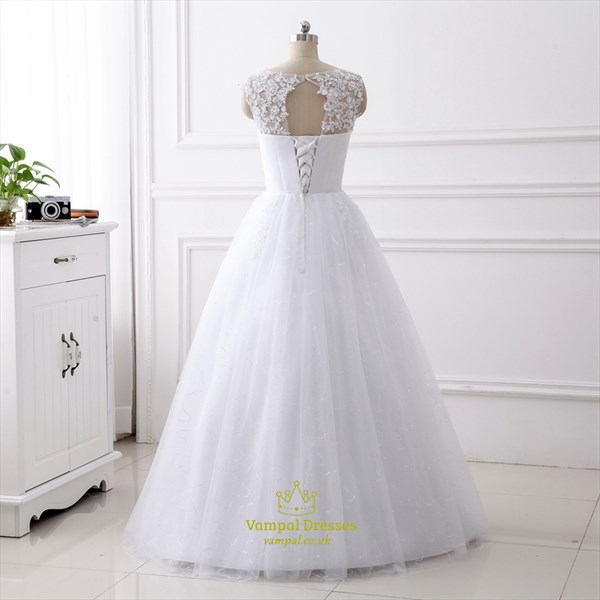 A Line Jewel Beaded Applique Keyhole Back Sequin Tulle Wedding Dress