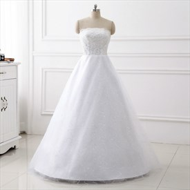 Simple Strapless Sleeveless Sequin Embellished Tulle Wedding Dresses