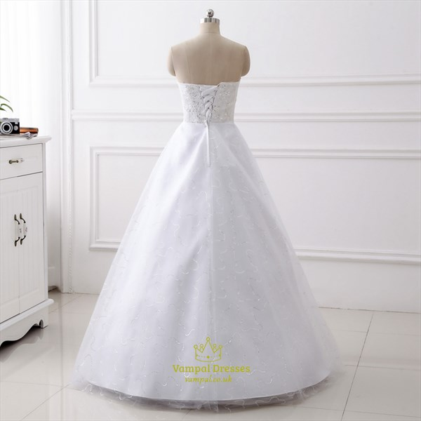 Simple Strapless Sleeveless Sequin Embellished Tulle Wedding Dresses