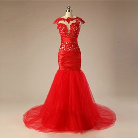 Red High Neck Cap Sleeve Ruched Organza Prom Dress With Sequins