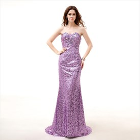 Lilac Sweetheart Neckline Crystal Sheath Sequin Long Prom Dress