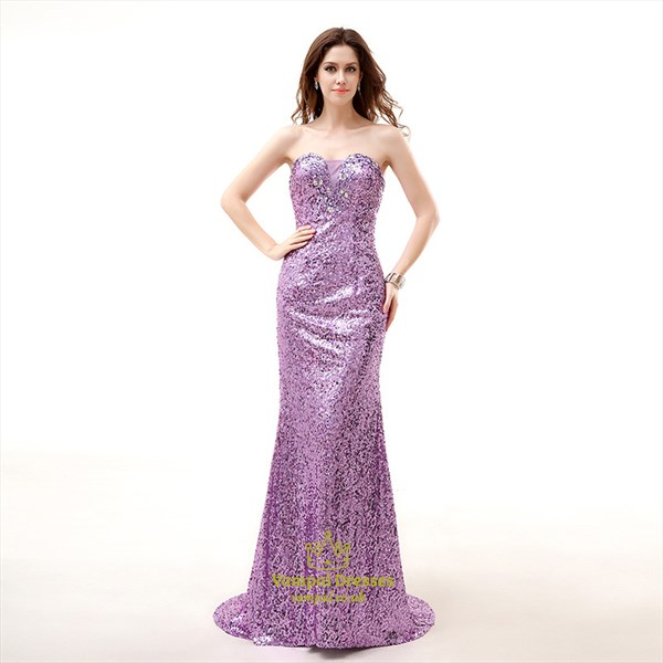 Lilac Sweetheart Neckline Crystal Sheath Sequin Long Prom Dress