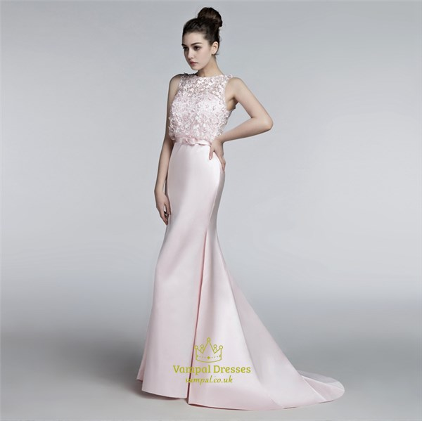 Pink Bateau Neck Sleeveless Applique Satin Long Prom Dress With Train