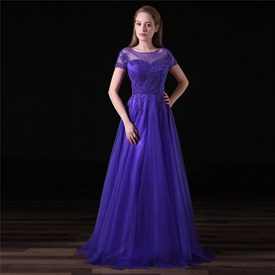 Purple Scoop Neck Short Sleeve Beading Applique Tulle Prom Dress