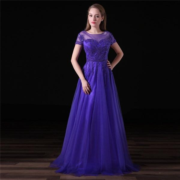 Purple Scoop Neck Short Sleeve Beading Applique Tulle Prom Dress
