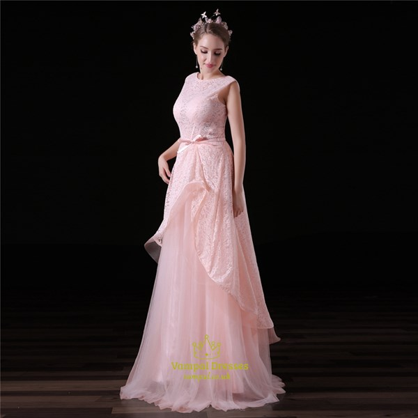 Pink Bateau Neck Sleeveless Floor Length Prom Dress With Lace And Bow