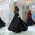 A Line Black Long Sleeve Lace Top Satin Bottom Two Piece Prom Dress