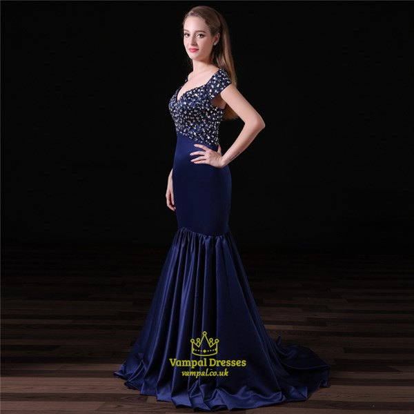 Navy Blue V Neck Cap Sleeve Crystal Beaded Sheath Satin Prom Dress