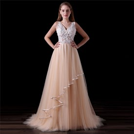 Blush Pink V Neck V Back Sleeveless Beading Applique Tulle Prom Dress