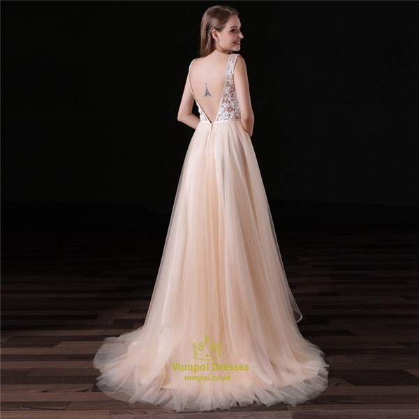 Blush Pink V Neck V Back Sleeveless Beading Applique Tulle Prom Dress